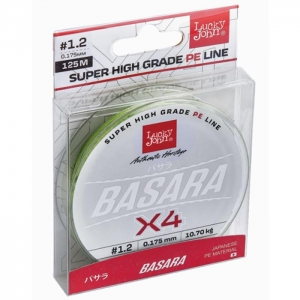 Жилка плетена Lucky John BASARA Green Х4 PE 125/0,175(#1,2)  (інд.уп/ *10)